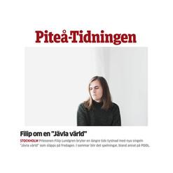 Intervju med Filip Lundgren i Piteå-Tidningen
