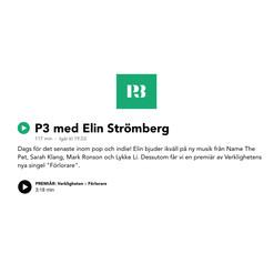 """Premiär av Verklighetens singel """"Förlorare"""" i P3 med Elin Strömberg"""