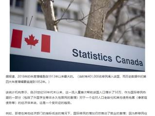 自第一次世界大战以来加拿大迎接最多的移民人数