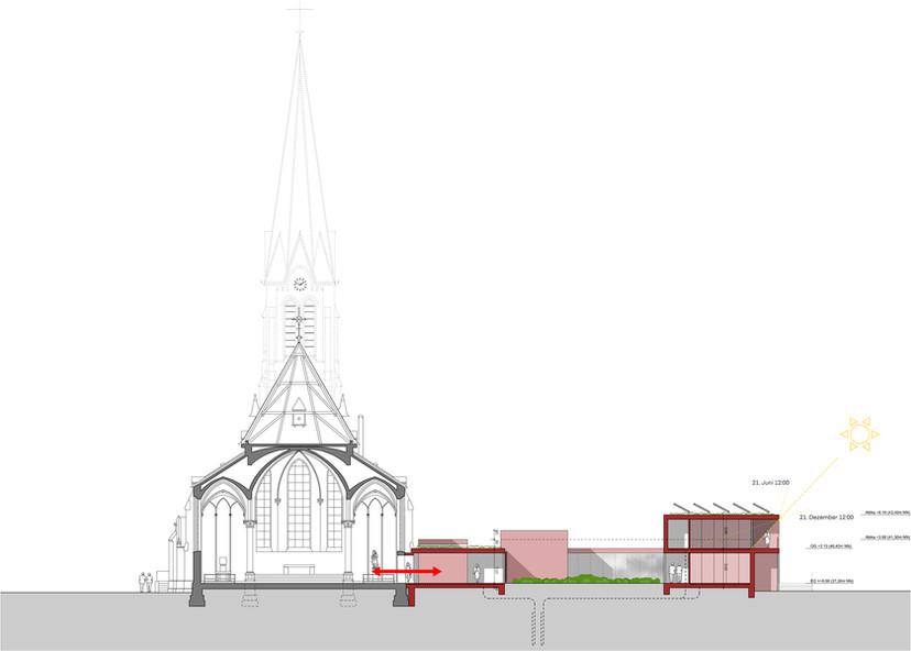 Schnitt Kirche und Pfarrzentrum