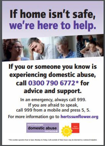 If you or someone you know is experiencing domestic abuse, call 03007906772 for advice and support.