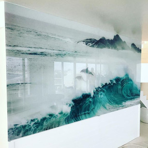 A bit of glass artwork in this living ro
