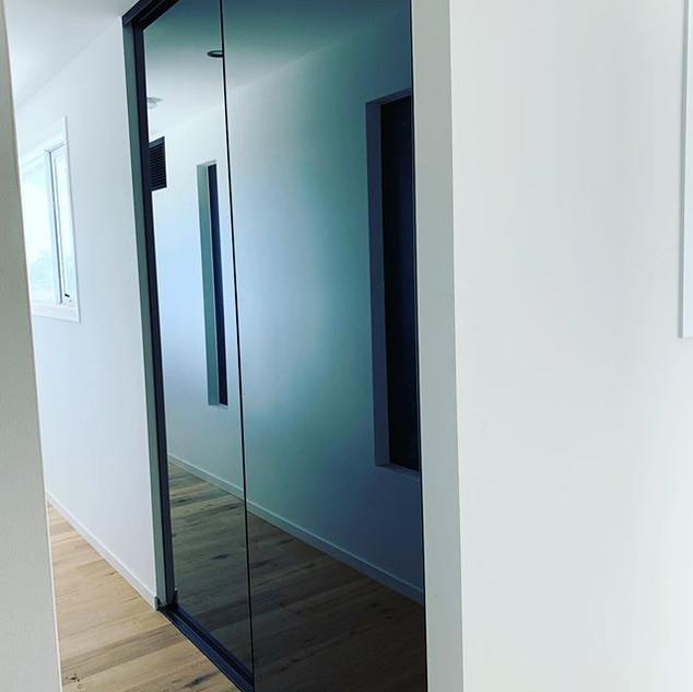 Semi frameless mirror robe doors with gr