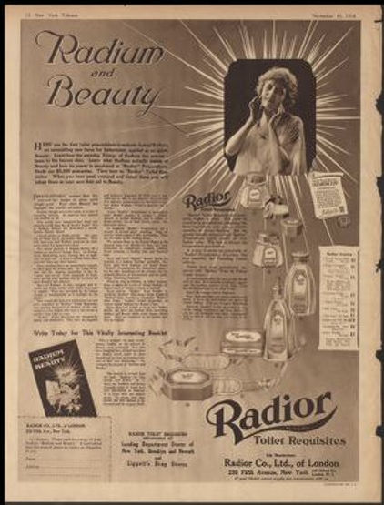 Advertising for radium inclusive beauty products