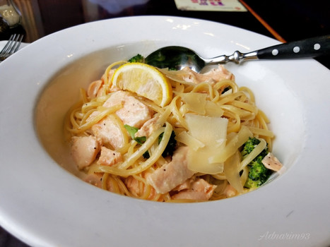 Salmon Linguine; Blue Frog