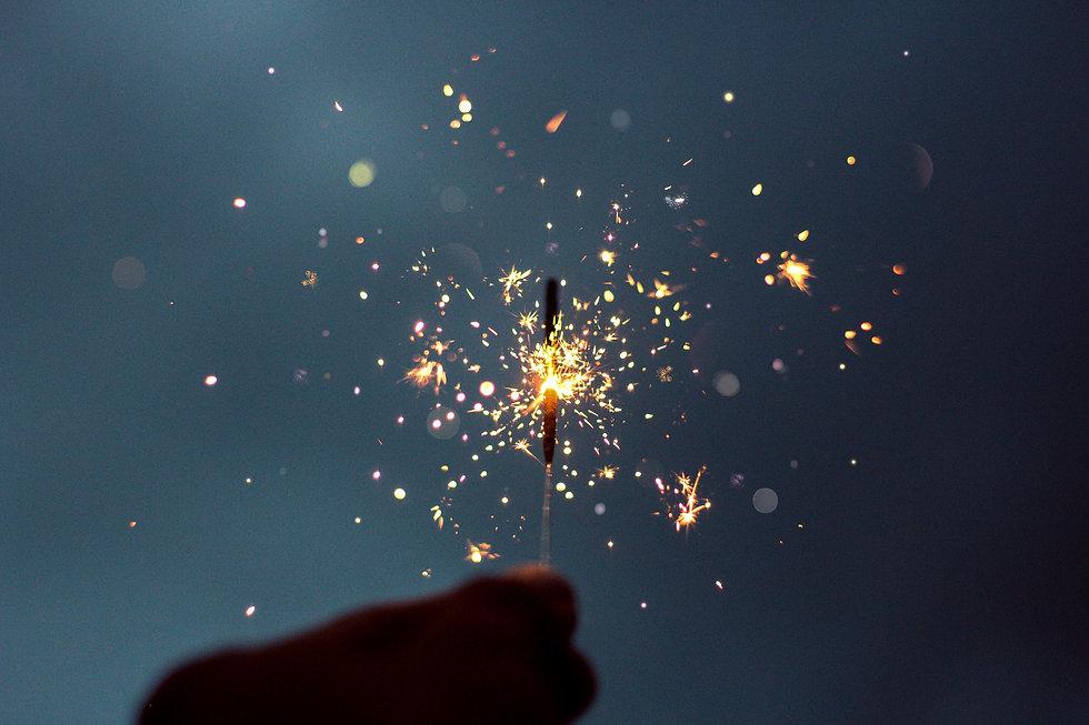 Lit Sparkler with sparks
