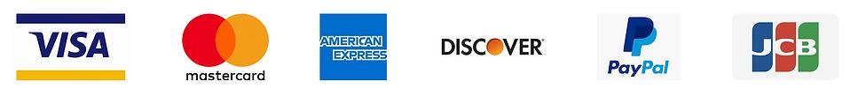 Visa, Mastercad, Amex, Discover, PayPal and JCB Logo