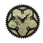 seattle map bicycle gear clock