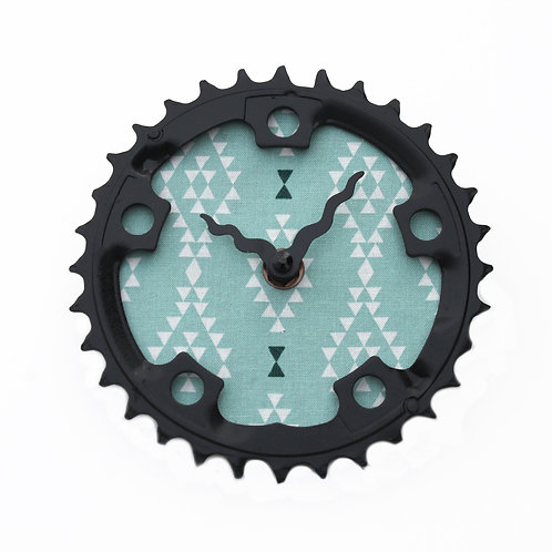 Blue Triangles Bicycle Clock | Small