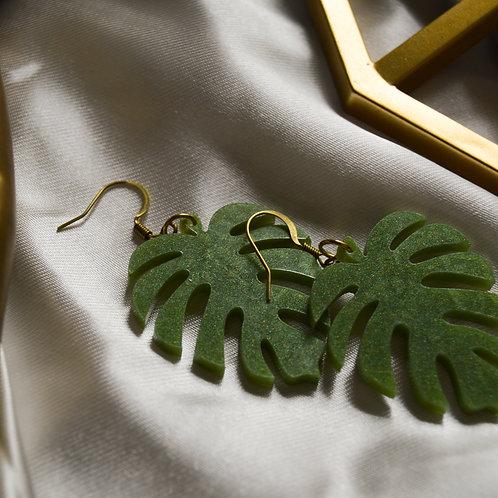 Light Green Monstera Earrings