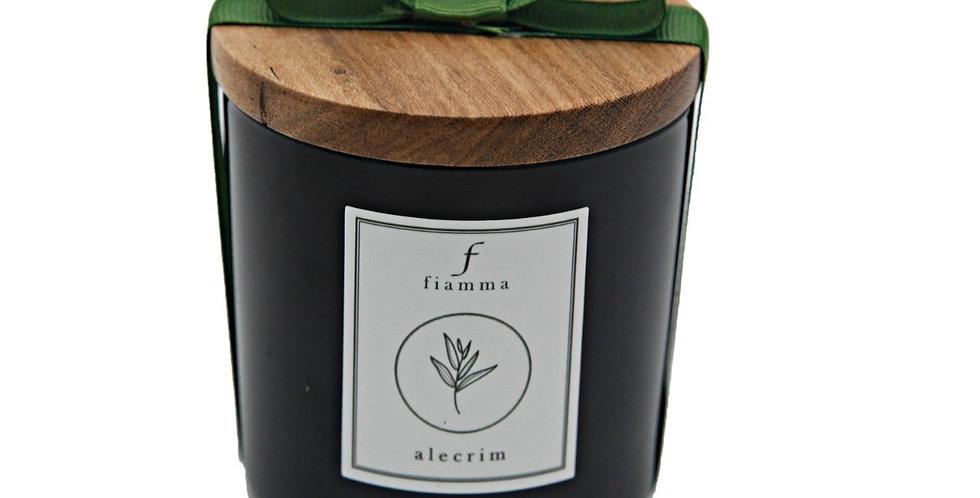 Vela G preto, aroma Alecrim com tampa freijó