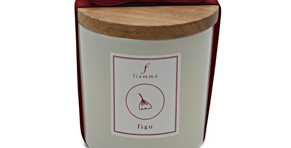 Vela G marfim, aroma Figo com tampa freijó