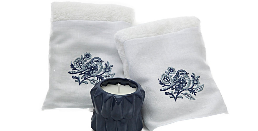 Kit toalhas Pássaros e vela lavanda em cerâmica exclusiva