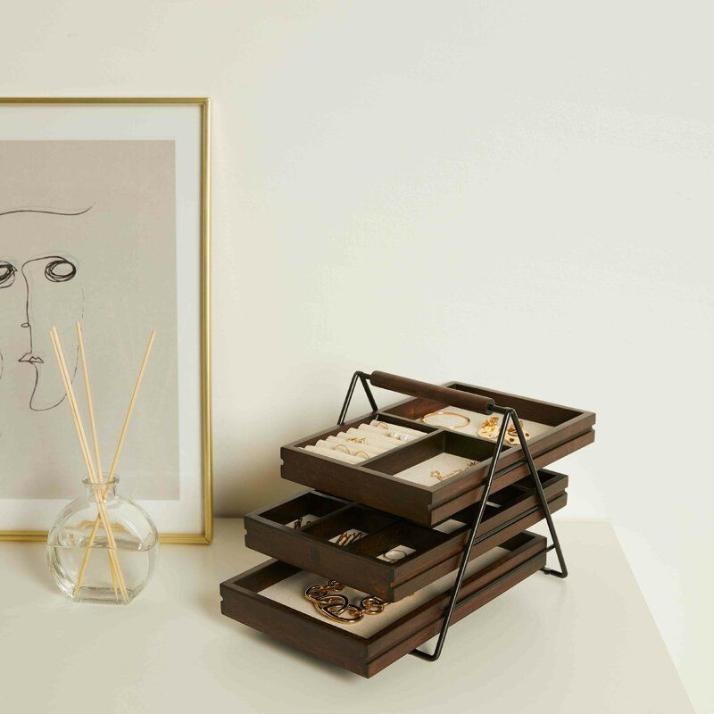 all modern three tier wooden tray style jewelry organizer