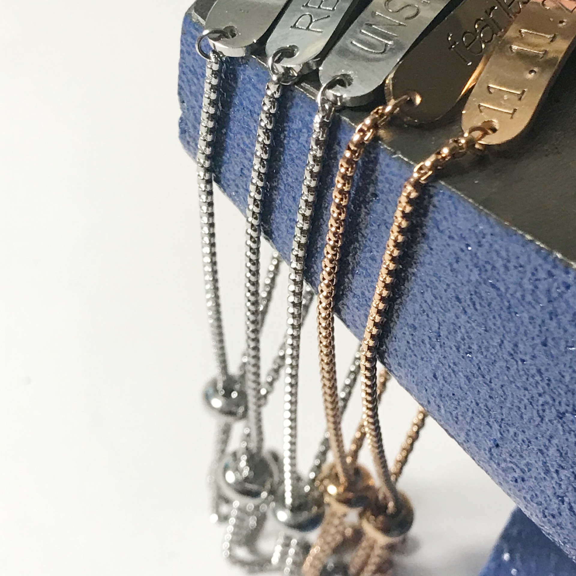 Snarklets bolo bracelets silver and rose gold stainless steel