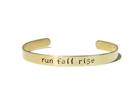 "Brass mantra bracelet hand stamped with ""run fall rise"" from Snarklets.net"