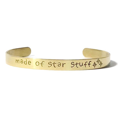 "brass mantra bracelet hand stamped with ""made of star stuff"" from Snarklets.net"