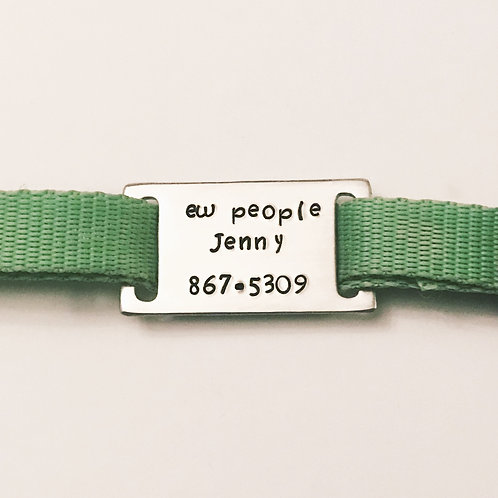 "Aluminum pet collar tag handstamped with ""ew people"" saying from Snarklets.net"