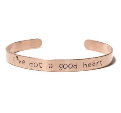 """Copper mantra bracelet hand stamped on the outside with """"i've got a good heart"""" from Snarklets.net"""