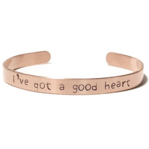 "Copper mantra bracelet hand stamped on the outside with ""i've got a good heart"" from Snarklets.net"