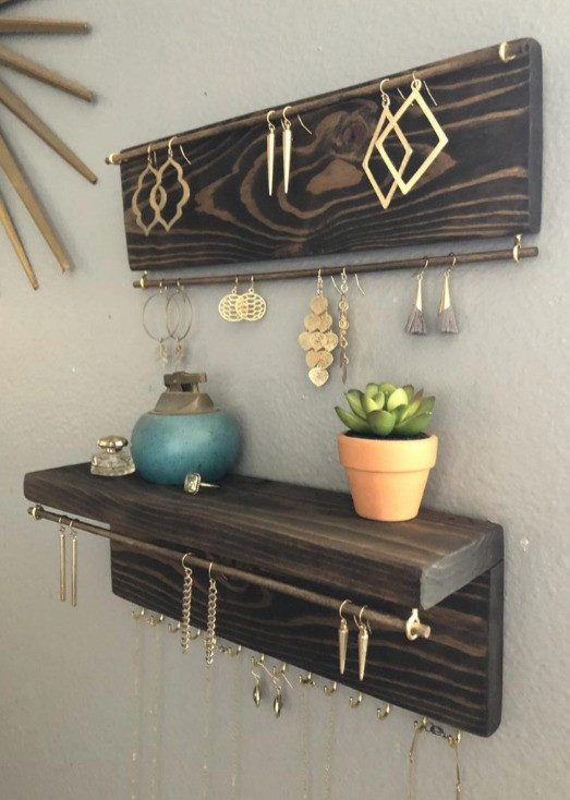 The windy chimes two piece wall mount wooden jewelry organizer with shelf