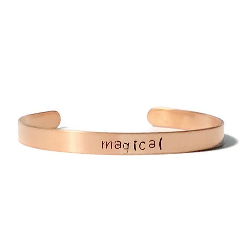 "Copper mantra bracelet hand stamped with ""magical"" from Snarklets.net"