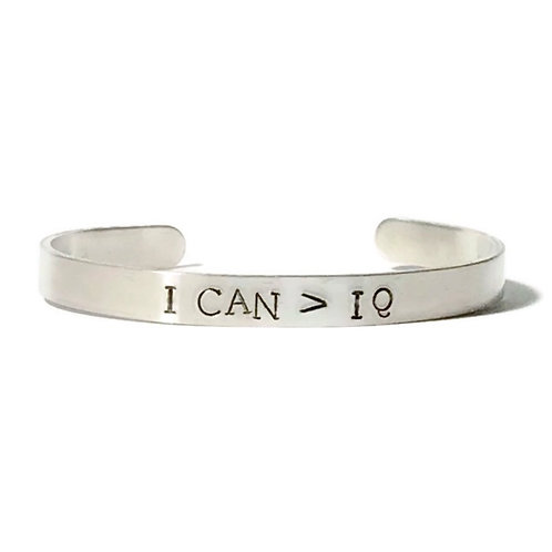 "Aluminum mantra bracelet hand stamped with ""I CAN>IQ"" from Snarklets.net"