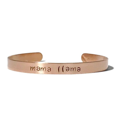 """Copper mantra bracelet hand stamped on the outside with """"mama llama"""" from Snarklets.net"""