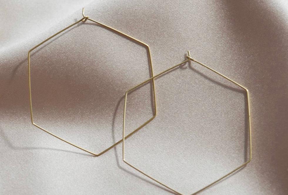 Octagon Hoop Earrings- Large