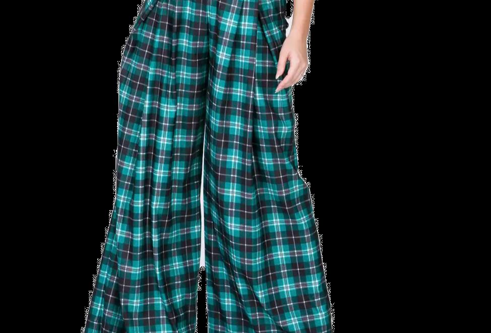 High Waist Wide Leg Plaid Pants