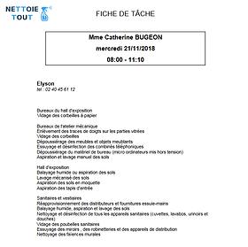 un fiche de tâche éditée par le logiciel Qerto Propreté