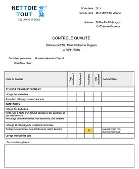 le contrôle qualité généré par le logiciel Qerto Propreté