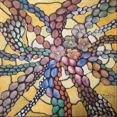 Futuristic yellow mosaic