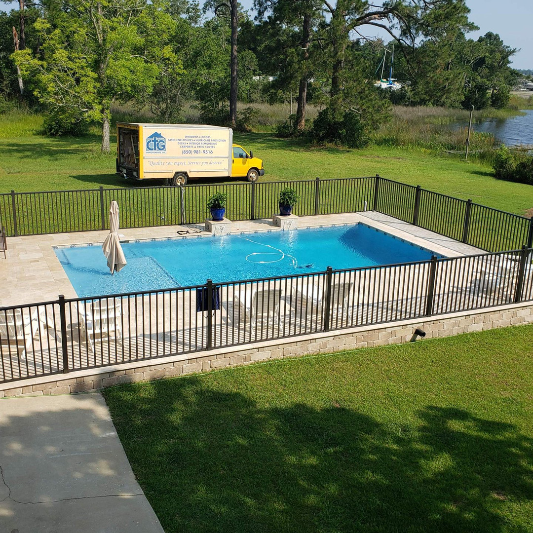 Custom railing around a pool