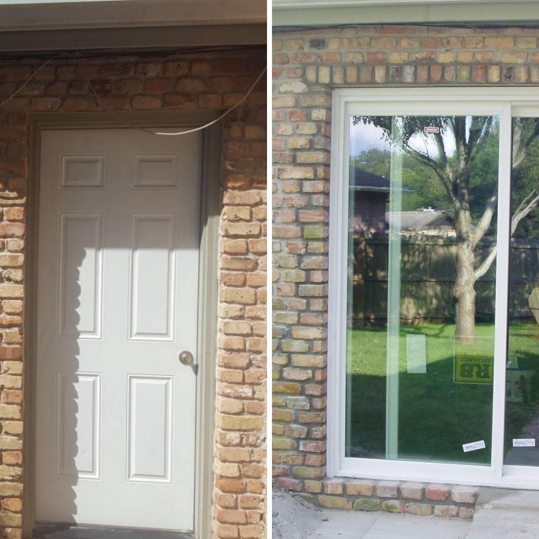 Enlarge opening install Sliding Glass Door
