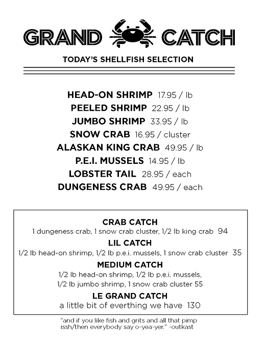 GrandCatch-Dinner, Drink, shellfish menu