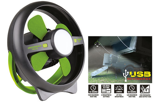 IRONMAN RECHARGEABLE TENT FAN / LED LIGHT
