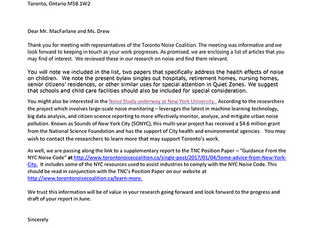 Letter to Toronto Public Health &  A List of Articles on the Adverse Health Impacts of Noise