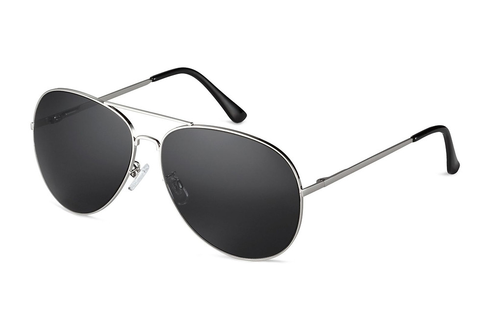 black aviator sunglasses with a white background