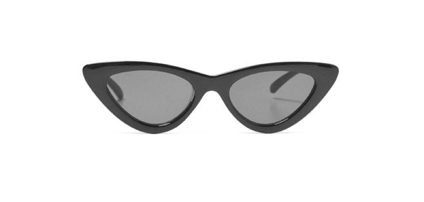 Cat style sunglasses with black smoke lenses on a white background