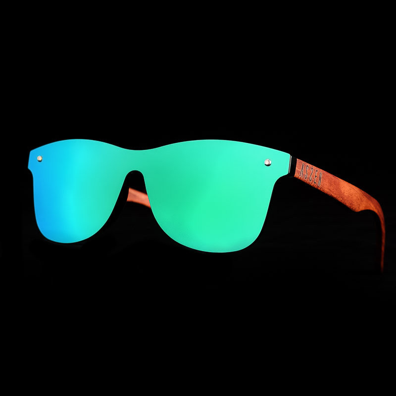 real mirror lens glasses blue green with black background and wood bamboo rods