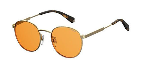Polaroid Sunglasses with orangebrown lenses on a white background