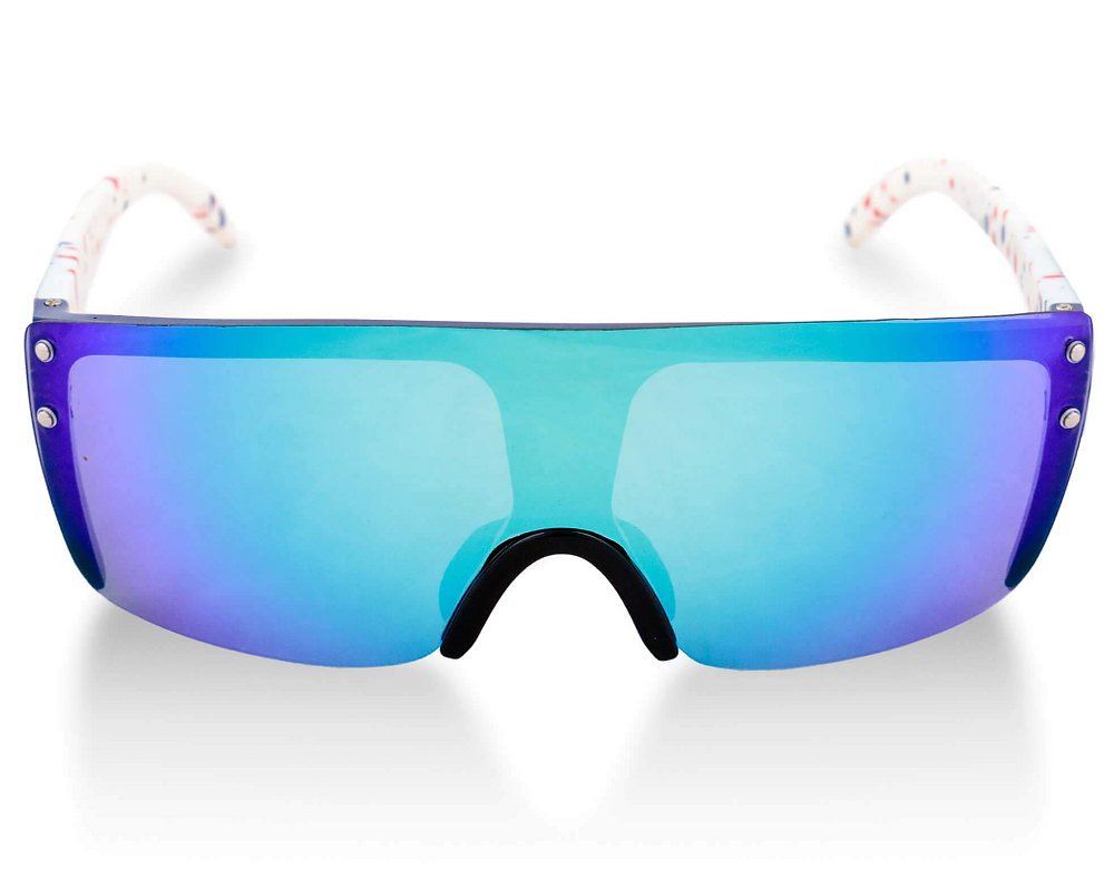 blue snowboard sunglasses with white background