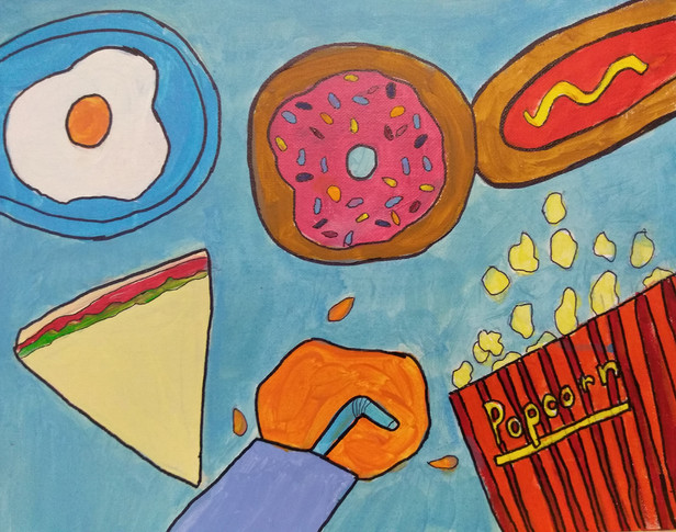 Shapes in food painting by Radhika