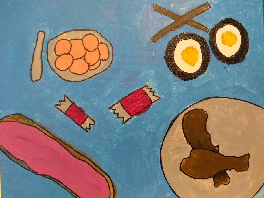 Shapes in food painting by Charlotte