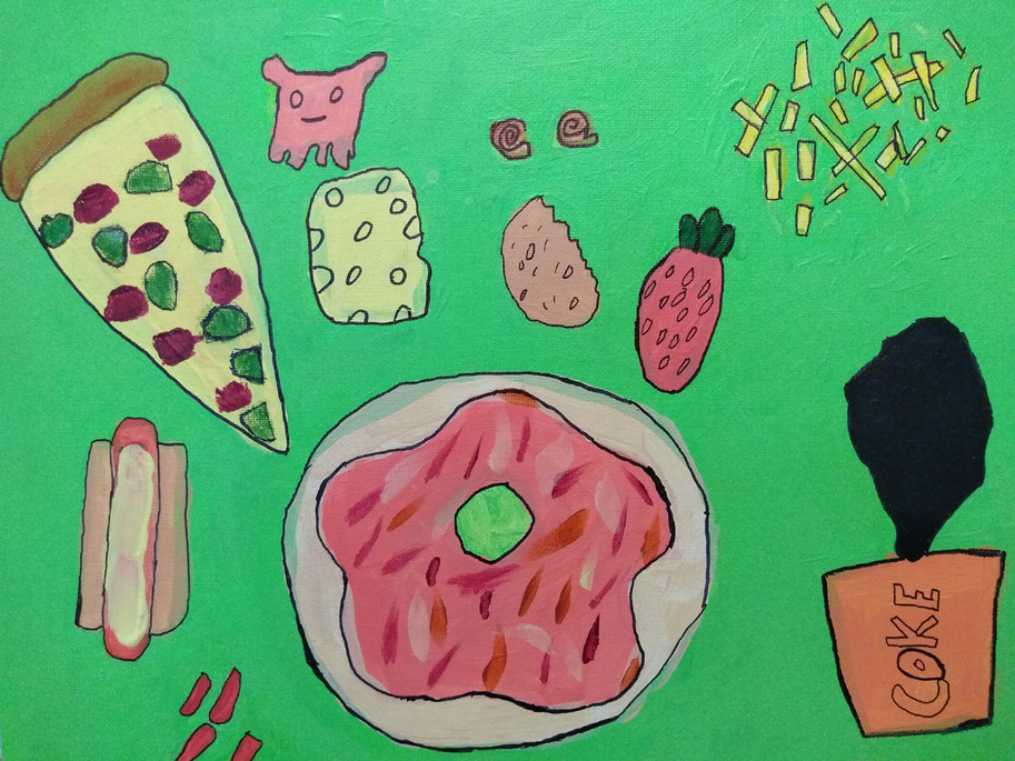 Shapes in food painting by James
