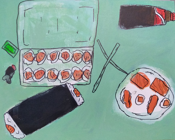 Shapes in food painting by Oli