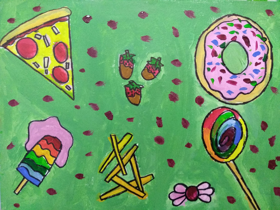 Shapes in food painting by Emma B