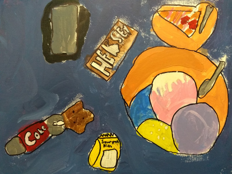 Shapes in food painting by Christine