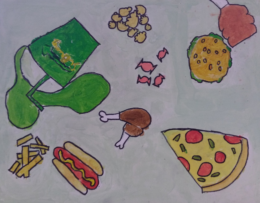 Shapes in food painting by Archie